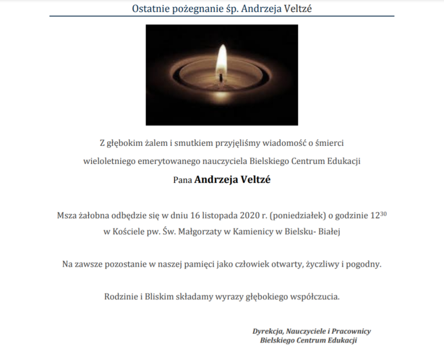 Obrazek newsa Ostatnie Pożegnanie Pana Andrzeja Veltzé